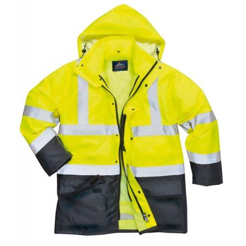 PW S768 - Jól láthatósági lélegző 5az1-ben kabát - sárga / tengerészkék