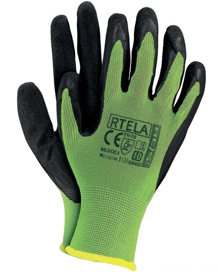 Szerelőkesztyű Latex zöld-fekete